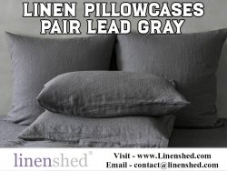 Linen Pillowcases Pair Lead Gray At Linenshed