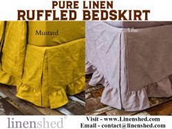 Pure Linen Ruffled Bedskirt At Linenshed