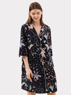 22 Momme Franch Design Printed Silk Shirt With Short Sleeves