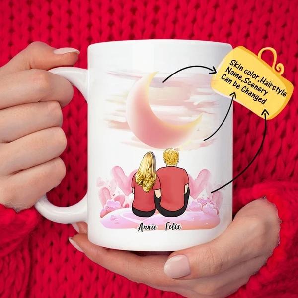 Custom Couple Romantic Moon Personalized Lover Coffee Mug | Made In USA