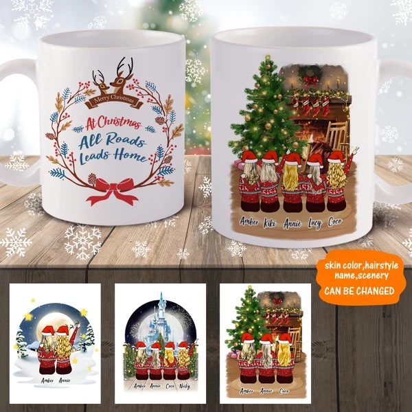 3D Preview – Personalized Christmas Girls Friends Mugs
