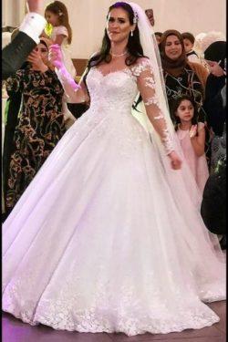 Elegante Brautkleider Prinzessin | Hochzeitskleider mit Spitzeärmel