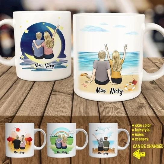 Couple Personalized Lover Coffee Mug(Online Design & 3D Preview) | Made In USA