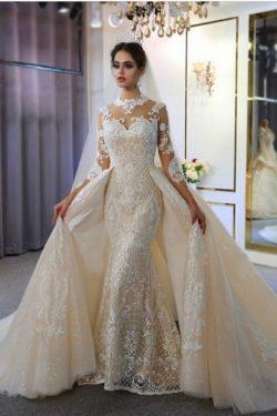 Luxus Hochzeitskleid A linie | Brautkleider Spitzeärmel Günstig