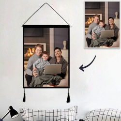 Custom Family Photo Tapestry – Wall Decor Hanging Fabric Painting Hanger Frame Poster