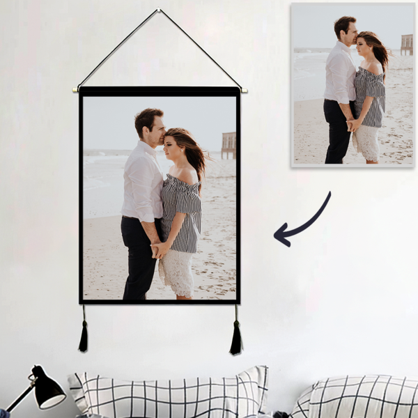 Custom Couple Photo Tapestry – Wall Decor Hanging Fabric Painting Hanger Frame Poster