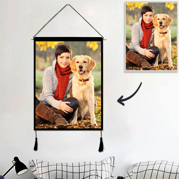 Custom Pet Photo Tapestry – Wall Decor Hanging Fabric Painting Hanger Frame Poster