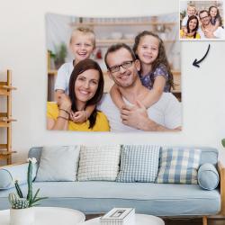 Custom Family Photo Tapestry Short Plush Wall Decor Hanging Painting