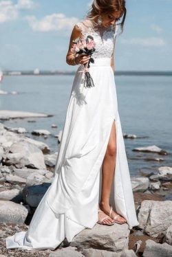 Chiffon Beach Wedding Dress With Slit, See-Through Applique Wedding Dress PW309 – MyGirlProm.com