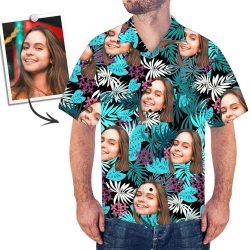 Custom Face Hawaiian Shirt Leaves
