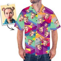 Custom Face Hawaiian Shirt Summer Color Stitching