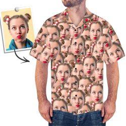 Custom Face Mash Men's Hawaiian Shirt