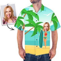 Custom Face Men's Hawaiian Shirt Vacation Surfing