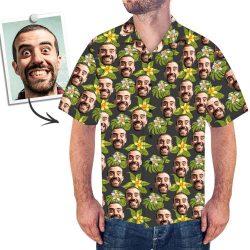 Custom Face Men's Hawaiian Shirt Green Flowers