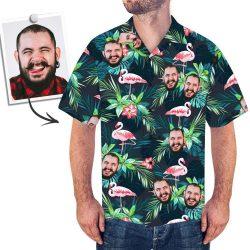 Custom Face All Over Print Hawaiian Shirt Flamingo Flowers And Leaves