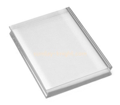Custom clear acrylic stamp block with finger groove ABK-083
