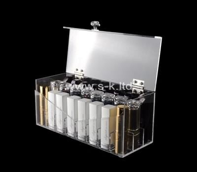 Custom clear plexiglass organizer box with lid, acrylic storage box