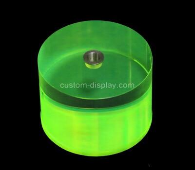 Custom round green perspex block, acrylic display block