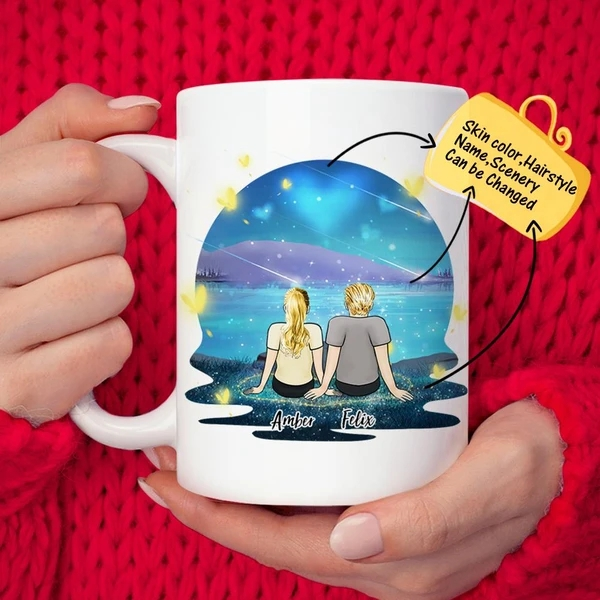 Custom Couple Starry Sky Personalized Lover Coffee Mug | Made In USA