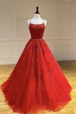 Schöne Abendkleider Lang Rot | Abendmoden mit Spitze Online