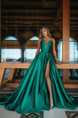 Elegante Abendkleid Grün | Abendkleider Lang Günstig Online
