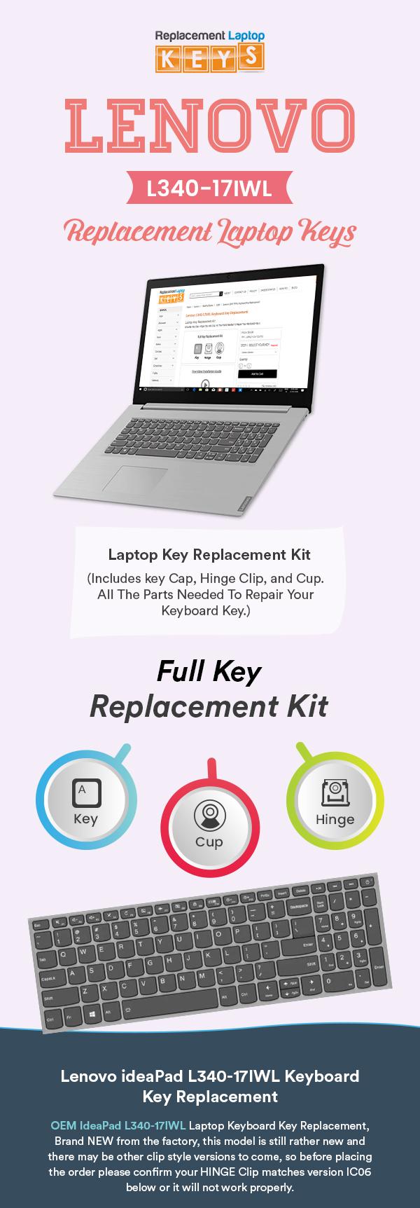 Get High Quality Lenovo L340-17iwl Keyboard keys form Replacement Laptop Keys