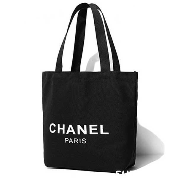 シャネルエコバッグ 帆布 トートバッグ CHANEL パロディー ショッピングバッグ 収納袋 折りたたみ