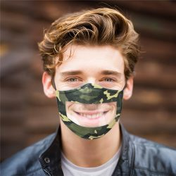 Camo Breathable Face Mask With Clear Window Visible Expression