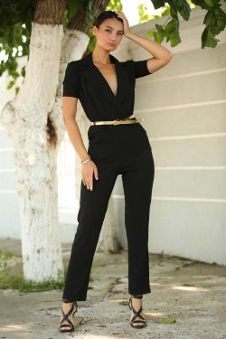Wrap Collar Black Overalls