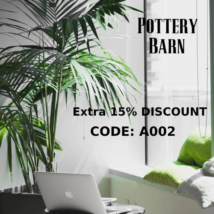 """Pottery Barn Extra 15% OFF Coupon Code """"A002"""""""
