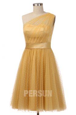Robe de cocktail mi-longue jaune plumetis asymétrique