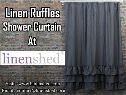 Linen Ruffles Shower Curtain At LINENSHED