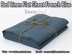 Bed Linen Flat Sheet French Blue At LINENSHED