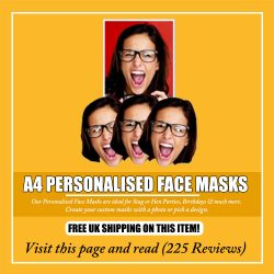A4 Personalised Face Masks