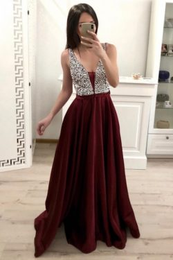 Designer Abendkleider Weinrot | Abendmoden Abiballkleid V Ausschnitt