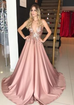 Abendkleid Lang V Ausschnitt | Rosa Abiballkleider Glitzer