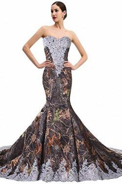 Tarnung Hochzeitskleid Meerjungfrau | Camouflage Brautkleid Mit Spitze