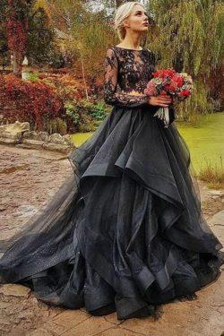 Elegante Brautkleid Schwarz | A linie Hochzeitskleider mit Ärmel