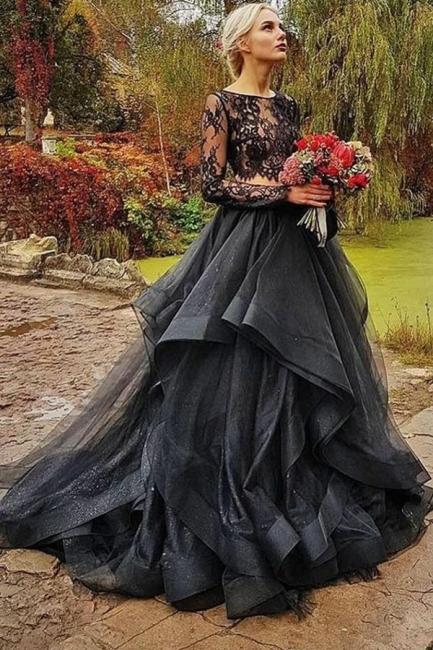 Elegante Brautkleid Schwarz   A linie Hochzeitskleider mit Ärmel