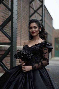 Schöne Brautkleid Schwarz | Hochzeitskleid A Linie Mit Ärmel