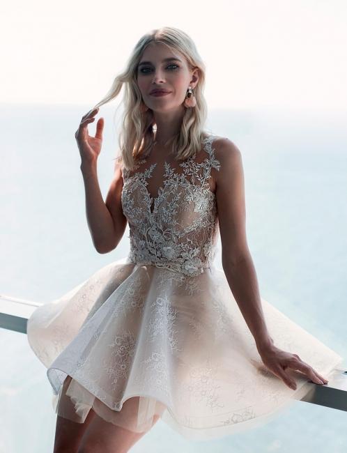 Elegante Brautkleid Kurz   A Linie Hochzeitskleid mit Spitz