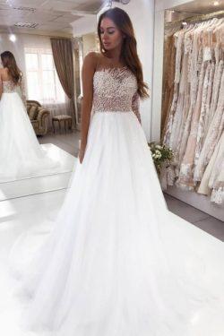 Luxus Brautkleider A linie | Hochzeitskleid mit Ärmel