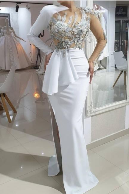 Abendkleider Lang Weiß   Abiballkleider mit Ärmel Online