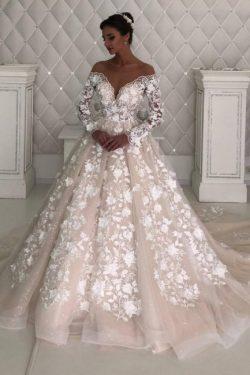 Designer Brautkleider mit Ärmel | Spitze Hochzeitskleider A Linie
