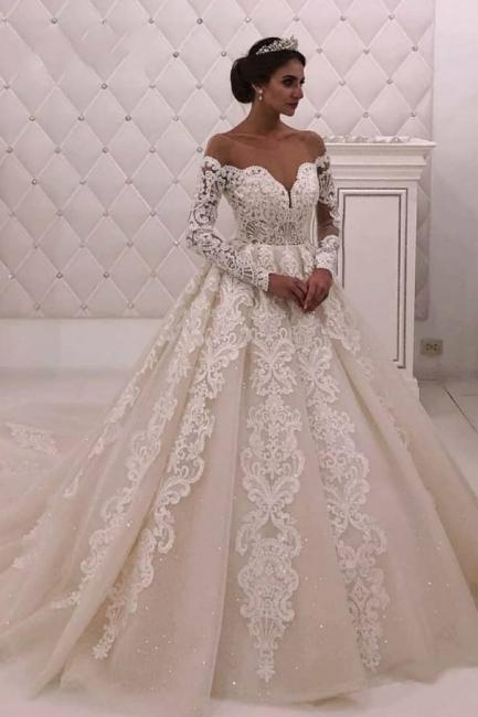 Designer Brautkleid mit Ärmel | Hochzeitskleider A Linie mit Spitze