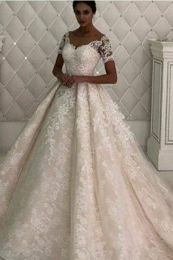 Wunderschöne Brautkleid A linie | Spitze Hochzeitskleider Kurz Ärmel