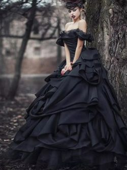 Schwarze Brautkleider Pinzessin | Vintage Hochzeitskleid Mit Spitze