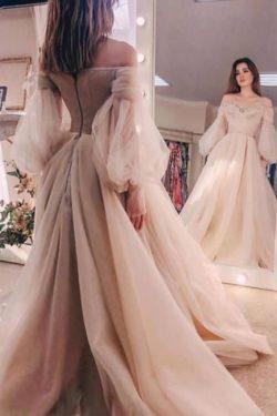 Schöne Brautkleid A Linie | Hochzeitskleider mit Ärmel