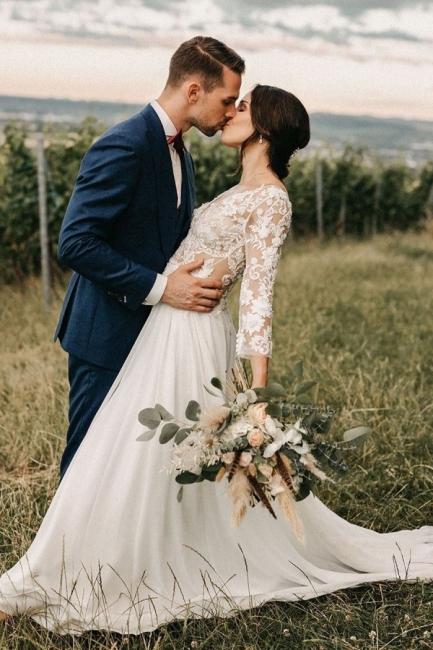 Schlichte Brautkleider mit Ärmel   Spitze Hochzeitskleider Online