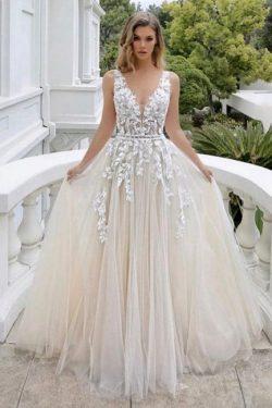 Brautkleid A linie V Ausschnitt | Schöne Hochzeitskleider mit Spitze